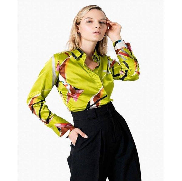 Woman modeling print top