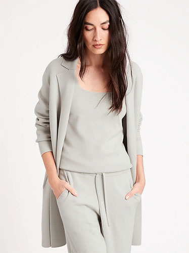 Model wearing matching gray loungewear