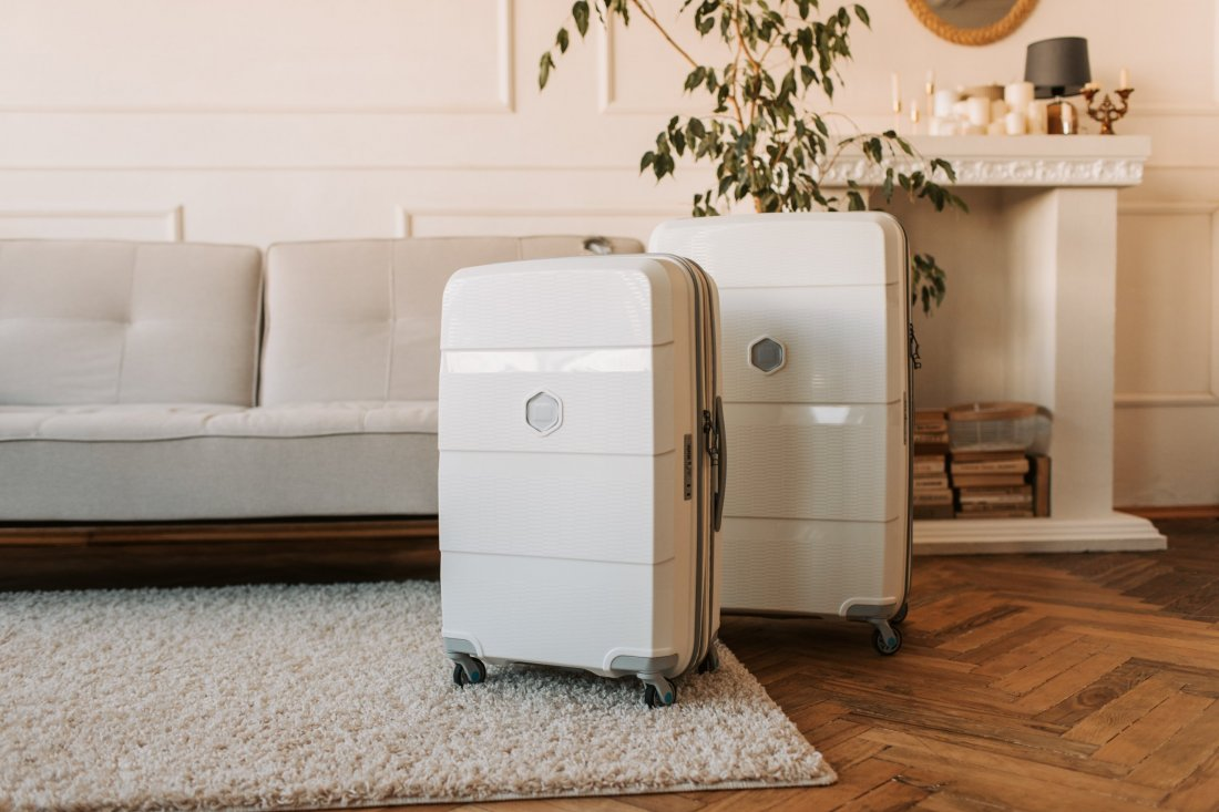 Suitcase in living room