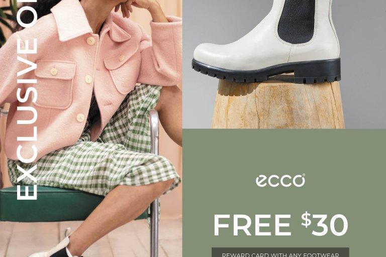 A woman models ECCO boots beside a written offer.